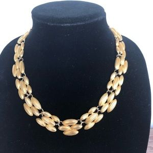 Trifari Signed Link Statement Necklace Gold tone